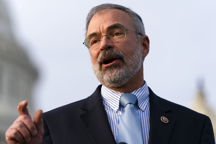 Rep. Andy Harris, R-Md., speaks during a news conference with members of the conservative Freedom Caucus, on Capitol Hill, Thursday, Dec. 3, 2020, in Washington. (AP Photo/Jacquelyn Martin)