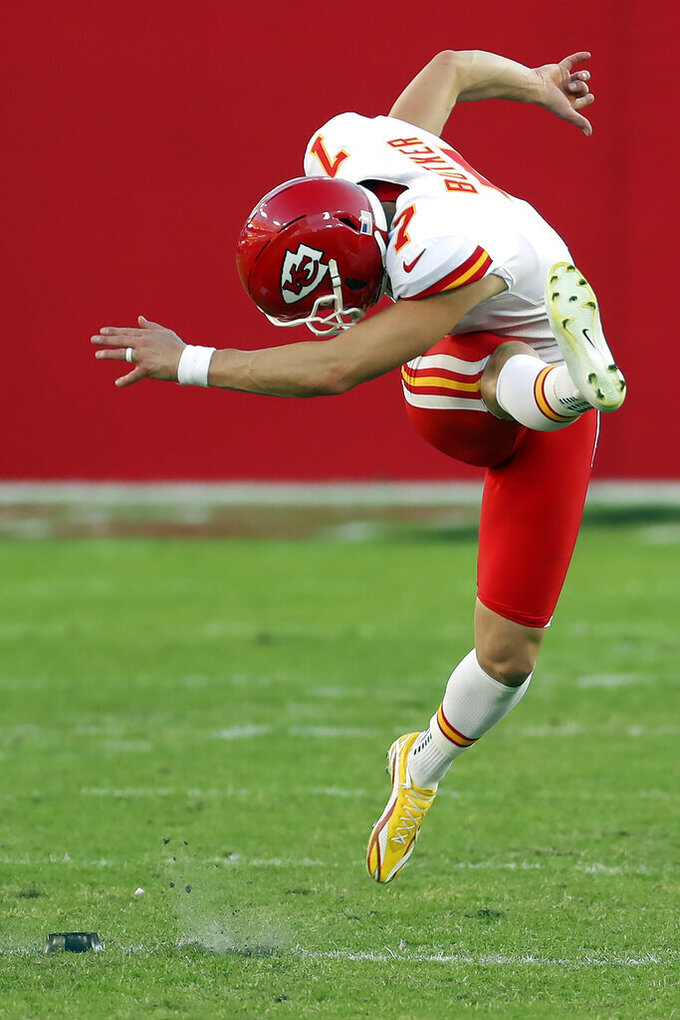 Kansas City Chiefs' Harrison Butker (7) kicks off against the Tampa Bay Buccaneers during the first half of an NFL football game Sunday, Nov. 29, 2020, in Tampa, Fla. (AP Photo/Mark LoMoglio)