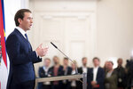 Austrian Chancellor Sebastian Kurz (Austrian People's Party) addresses the media during a press conference at the Federal Chancellors Office in Vienna, Austria, Saturday, May 18, 2019. Kurz has called for an early election after the resignation of his vice chancellor spelled an end to his governing coalition. (AP Photo/Michael Gruber)