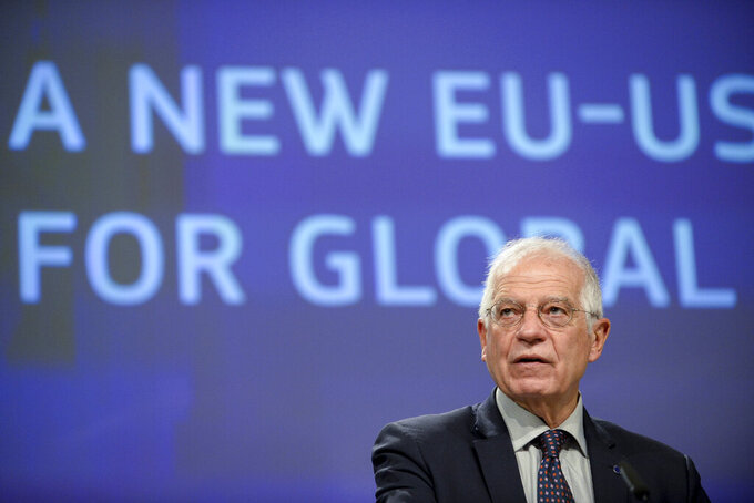 FILE - In this Dec. 2, 2020 file photo, European Union foreign policy chief Josep Borrell speaks during a media conference at EU headquarters in Brussels. When U.S. President Joe Biden took office early this year, Western allies were falling over themselves to welcome and praise him and hail a new era in trans-Atlantic cooperation. The collapse of Kabul certainly put a stop to that. Even some of his biggest fans are now churning out criticism. (Johanna Geron, Pool Photo via AP, File)