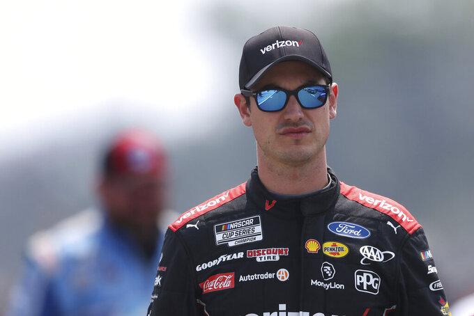 Joey Logano before a NASCAR Cup Series auto race in Watkins Glen, N.Y., on Sunday, Aug. 8, 2021. (AP Photo/Joshua Bessex)