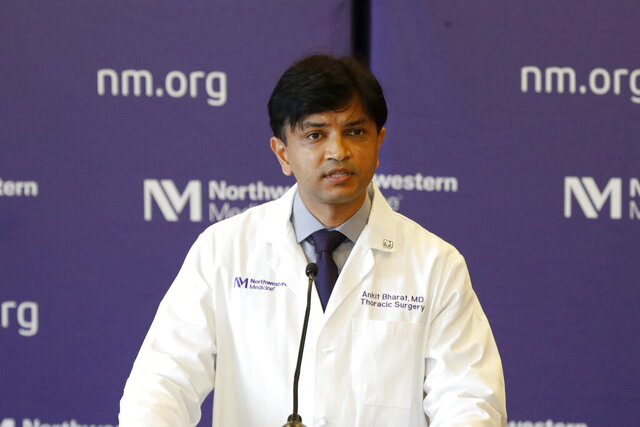 Dr. Ankit Bharat, chief of thoracic surgery and surgical director of the Northwestern Medicine Lung Transplant Program speaks Thursday, July 30, 2020, at a news conference about the double-lung transplants he and a team of doctors performed on Mayra Ramirez, on June 5, and and Brian Kuhns, on July 5, in Chicago. (AP Photo/Charles Rex Arbogast)