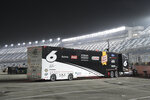 Ryan Newman's hauler remains in the garage area after he was taken to the hospital when he was injured in a crash on the final lap of the NASCAR Daytona 500 auto race at Daytona International Speedway, Monday, Feb. 17, 2020, in Daytona Beach, Fla. Sunday's race was postponed because of rain. (AP Photo/Phelan M. Ebenhack)