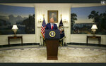 In this image made from UNTV video, U.S. President Donald Trump speaks in a pre-recorded message which was played during the 75th session of the United Nations General Assembly, Tuesday, Sept. 22, 2020, at the United Nations headquarters in New York. The U.N.'s first virtual meeting of world leaders started Tuesday with pre-recorded speeches from some of the planet's biggest powers, kept at home by the coronavirus pandemic that will likely be a dominant theme at their video gathering this year. (UNTV via AP)