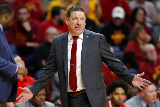Texas Tech head coach Chris Beard reacts to a call against his team during the second half of an NCAA college basketball game against Iowa State, Saturday, March 9, 2019, in Ames, Iowa. Texas Tech won 80-73. (AP Photo/Charlie Neibergall)