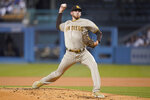 San Diego Padres starting pitcher Joe Musgrove (44) throws during the first inning of a baseball game against the Los Angeles Dodgers Friday, Sept. 10, 2021, in Los Angeles. (AP Photo/Ashley Landis)