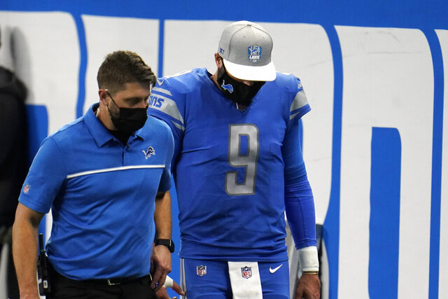 Detroit Lions quarterback Matthew Stafford (9) walks off the field during the second half of an NFL football game against the Green Bay Packers, Sunday, Dec. 13, 2020, in Detroit. (AP Photo/Paul Sancya)