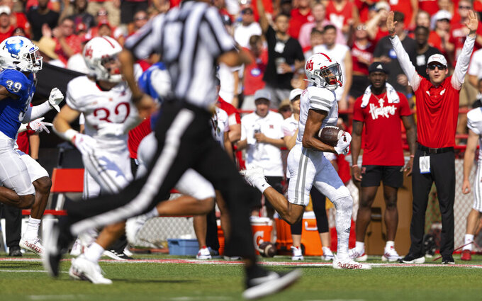 Nebraska wide receiver Samori Toure runs in a reception for a touchdown against Buffalo during the first half of an NCAA college football game, Saturday, Sept. 11, 2021, at Memorial Stadium in Lincoln, Neb. (AP Photo/Rebecca S. Gratz)