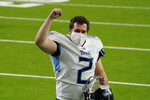 Tennessee Titans kicker Sam Sloman celebrates after an NFL football game against the Houston Texans Sunday, Jan. 3, 2021, in Houston. Sloman kicked the game-winning field goal in the Titans 41-38 win over the Texans. (AP Photo/Sam Craft)
