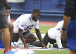 Buffalo Bills wide receiver John Brown (15) stretches in warm-ups at practice at Bills Stadium in Orchard Park, N.Y., Wednesday, Sept. 2, 2020. (James P. McCoy/The Buffalo News via AP, Pool)