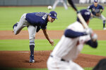 Tampa Bay Rays starting pitcher Tyler Glasnow delivers a pitch to a Houston Astros batter during the first inning of Game 5 of a baseball American League Division Series in Houston, Thursday, Oct. 10, 2019. (AP Photo/Eric Gay)