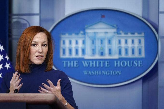 White House press secretary Jen Psaki speaks during a press briefing at the White House, Monday, Feb. 8, 2021, in Washington. (AP Photo/Patrick Semansky)