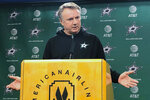 The Dallas Stars interim coach Rick Bowness speaks during a news conference after the team fired second-year coach Jim Montgomery on Tuesday, Dec. 10, 2019, for what the team called unprofessional conduct. General manager Jim Nill said Montgomery had acted inconsistently with