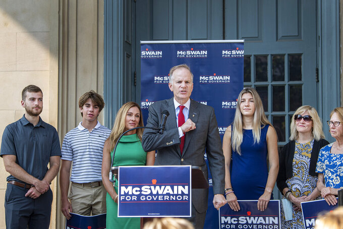 Former U.S. Attorney Bill McSwain speaks at the podium on Monday, Sept. 13, 2021, as he announces his campaign for governor of Pennsylvania during a rally at the Chester County Courthouse steps in West Chester, Pa. (Jose F. Moreno/The Philadelphia Inquirer via AP)