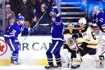 Toronto Maple Leafs centre Patrick Marleau (12) celebrates after scoring on Boston Bruins goaltender Tuukka Rask (40) during third period NHL round one playoff hockey action in Toronto on Monday, April 16, 2018. (Frank Gunn/The Canadian Press via AP)