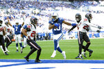 Indianapolis Colts wide receiver T.Y. Hilton (13) goes in for a touchdown in front of Houston Texans strong safety Justin Reid (20) during the first half of an NFL football game, Sunday, Oct. 20, 2019, in Indianapolis. (AP Photo/AJ Mast)