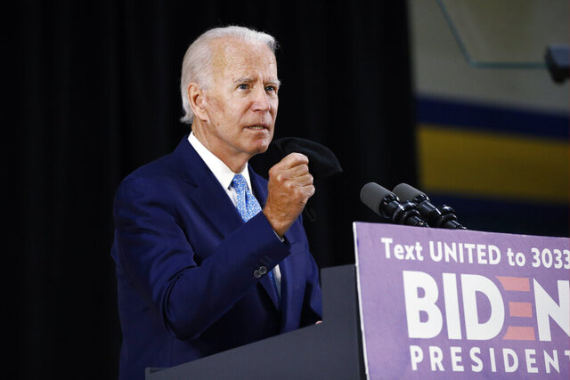 Democratic presidential candidate, former Vice President Joe Biden, speaks Tuesday, June 30, 2020, in Wilmington, Del. (AP Photo/Patrick Semansky)