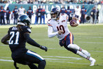 Chicago Bears' Mitchell Trubisky, right, tries to scramble past Philadelphia Eagles' Ronald Darby during the second half of an NFL football game, Sunday, Nov. 3, 2019, in Philadelphia. (AP Photo/Chris Szagola)