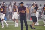 Arizona State head coach Herm Edwards watches warm ups prior to an NCAA college football game against UNLV, Saturday, Sept. 11, 2021, in Tempe, Ariz. (AP Photo/Matt York)