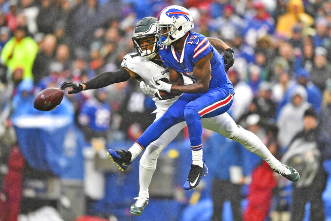 Philadelphia Eagles' Ronald Darby, left, blocks a pass intended for Buffalo Bills' John Brown during the second half of an NFL football game, Sunday, Oct. 27, 2019, in Orchard Park, N.Y. (AP Photo/Adrian Kraus)