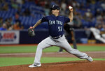 Seattle Mariners pitcher Tommy Milone delivers to the Tampa Bay Rays during the second inning of a baseball game Tuesday, Aug. 20, 2019, in St. Petersburg, Fla. (AP Photo/Chris O'Meara)