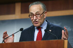 Senate Majority Leader Chuck Schumer of New York,  holds a news conference, Thursday, March 25, 2021 on Capitol Hill in Washington. (Jonathan Ernst/Pool via AP)