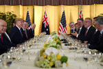 President Donald Trump, second from left, attends dinner with Australian Prime Minister Scott Morrison, third from right, in Osaka, Japan, Thursday, June 27, 2019. Trump and Morrison are in Osaka to attend the G20 summit. (AP Photo/Susan Walsh)