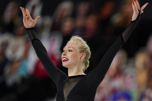 Bradie Tennell performs during the women's short program at the U.S. Figure Skating Championships, Thursday, Jan. 14, 2021, in Las Vegas. (AP Photo/John Locher)