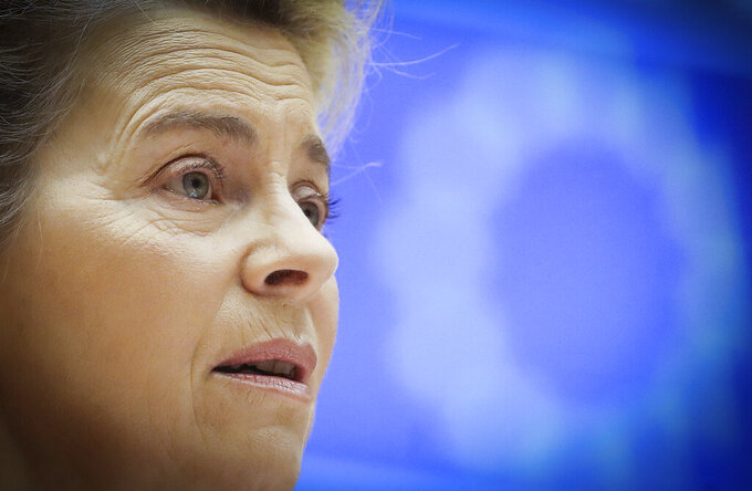 European Commission President Ursula von der Leyen speaks during a debate on the EU-UK trade and cooperation agreement during the second day of a plenary session at the European Parliament in Brussels, Tuesday, April 27, 2021. (Olivier Hoslet, Pool via AP)