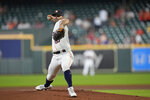 Houston Astros starting pitcher Jose Urquidy throws against the Seattle Mariners during the first inning of a baseball game Wednesday, Sept. 8, 2021, in Houston. (AP Photo/David J. Phillip)