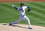 New York Mets starting pitcher Rick Porcello throws against the Atlanta Braves during the first inning of a baseball game, Sunday, Sept. 20, 2020, in New York. (AP Photo/Noah K. Murray)