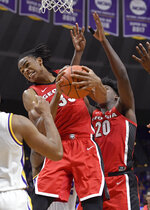 Georgia forward Nicolas Claxton (33) pulls down a rebound as teammate Rayshaun Hammonds (20) watches in the first half of an NCAA college basketball game, Wednesday, Jan. 23, 2019, in Baton Rouge, La. (AP Photo/Bill Feig)