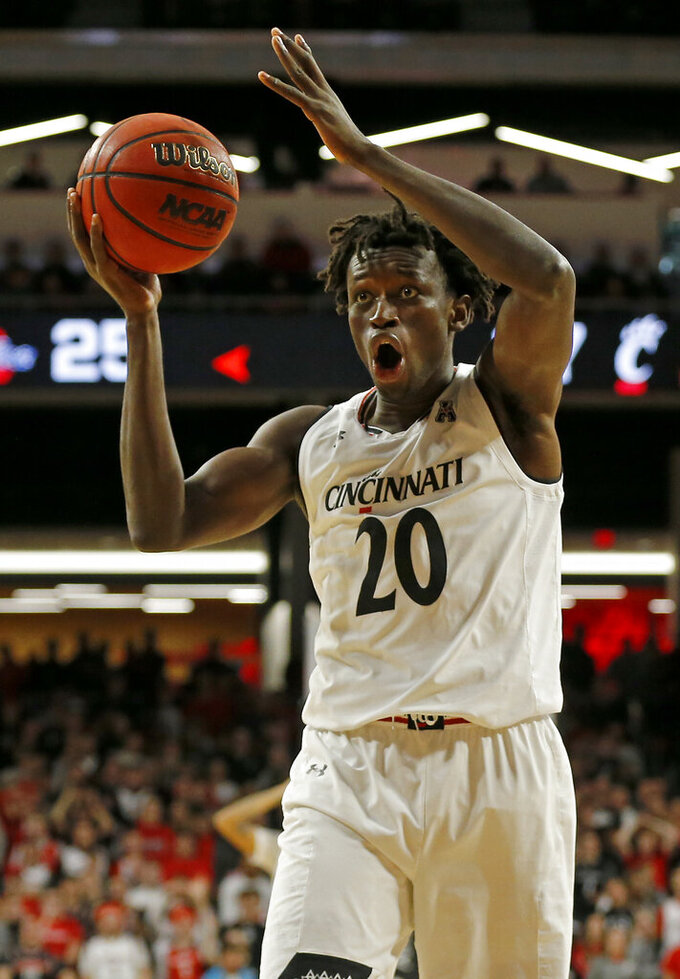 Cincinnati forward Mamoudou Diarra reacts after being called for a foul against Tulsa during the first half of an NCAA college basketball game Thursday, Jan. 24, 2019, in Cincinnati. (Sam Greene/The Cincinnati Enquirer via AP)