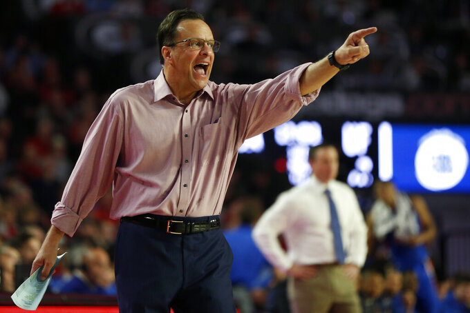 FILE  - Georgia coach Tom Crean gestures during the team's NCAA college basketball game against Florida in Athens, Ga., in this Wednesday, March 4, 2020, file photo. The Bulldogs finished 16-16 last season under coach Crean. (Joshua L. Jones/Athens Banner-Herald via AP, File)