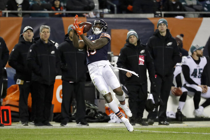 Chicago Bears wide receiver Josh Bellamy (15) makes a catch during the second half of an NFL wild-card playoff football game against the Philadelphia Eagles Sunday, Jan. 6, 2019, in Chicago. (AP Photo/Nam Y. Huh)