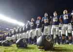 Notre Dame players line up at the end zone to greet fans and cheer with them after an NCAA college football game against Syracuse, Saturday, Nov. 17, 2018, at Yankee Stadium in New York. (AP Photo/Howard Simmons)