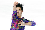 US' Nathan Chen competes in the Men Free Skating during the ISU figure skating France's Trophy, in Grenoble, French Alps, France, Saturday, Nov. 2, 2019. (AP Photo/Francois Mori)