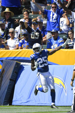 Indianapolis Colts running back Marlon Mack celebrates after scoring during the second half in an NFL football game against the Los Angeles Chargers, Sunday, Sept. 8, 2019, in Carson, Calif. (AP Photo/Mark J. Terrill)