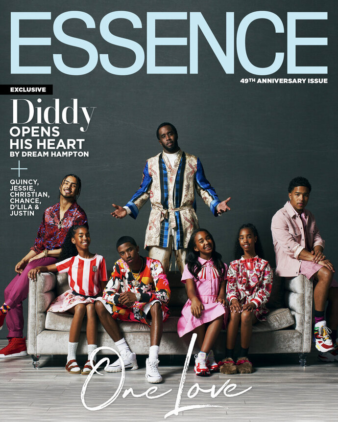 "This cover image released by Essence shows Sean ""Diddy"" Combs, background center, posing with his children, from left, Quincy, 27,  Jesse, 12, Christian, 21, Chance, 12, D'Lila, 12;, and Justin, 25, on the digital edition of the 49th anniversary issue of"