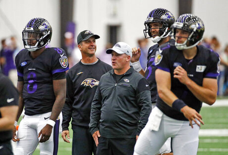 John Harbaugh, Joe Flacco, James Urban, Lamar Jackson, Josh Woodrum