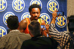 Tennessee's Jordan Bowden speaks during the Southeastern Conference NCAA college basketball media day, Wednesday, Oct. 16, 2019, in Birmingham, Ala. (AP Photo/Butch Dill)