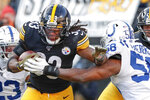 Pittsburgh Steelers running back Trey Edmunds (33) tries to break away from Indianapolis Colts inside linebacker Bobby Okereke (58) during the second half an NFL football game, Sunday, Nov. 3, 2019, in Pittsburgh. (AP Photo/Don Wright)