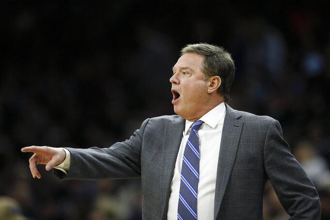 Kansas head coach Bill Self reacts to a call during the first half of an NCAA college basketball game against Villanova, Saturday, Dec. 21, 2019, in Philadelphia. (AP Photo/Matt Slocum)