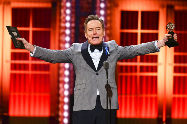 FILE - In this June 9, 2019, file photo, Bryan Cranston accepts the award for best performance by an actor in a leading role in a play for