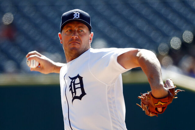 FILE - In this Sept. 26, 2019, file photo, Detroit Tigers pitcher Jordan Zimmermann throws against the Minnesota Twins in the first inning of a baseball game in Detroit. The Tigers put Zimmermann on the 45-day injured list last weekend because of a right forearm strain, and in this shortened season, that means he won't pitch much — if at all. (AP Photo/Paul Sancya, File)
