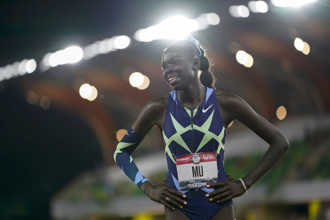 Athing Mu wins the final in the women's 800-meter run at the U.S. Olympic Track and Field Trials Sunday, June 27, 2021, in Eugene, Ore. (AP Photo/Ashley Landis)