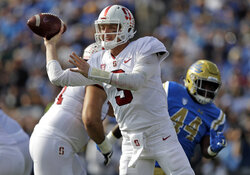 Stanford quarterback K.J. Costello (3) throws against UCLA during the first half of an NCAA college football game Saturday, Nov. 24, 2018, in Pasadena, Calif. (AP Photo/Marcio Jose Sanchez)