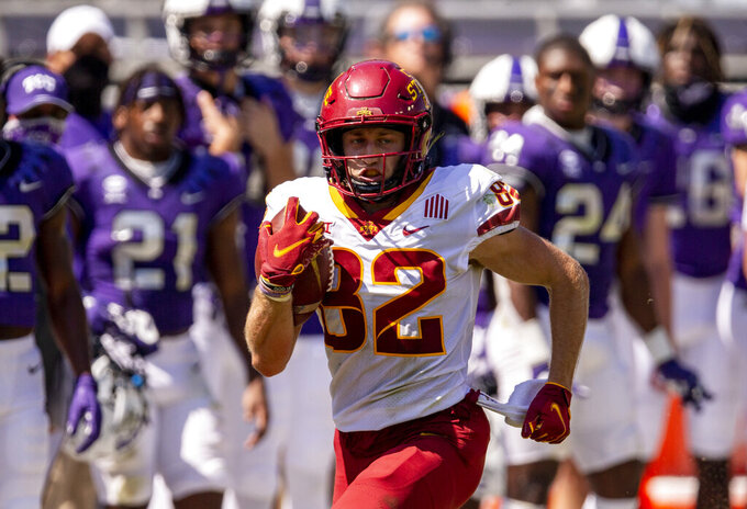 Iowa State wide receiver Landen Akers (82) carries the ball during an NCAA college football game against TCU on Saturday, Sept. 26, 2020 in Fort Worth, Texas. (AP Photo/Brandon Wade)