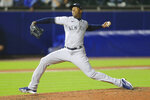 New York Yankees relief pitcher Aroldis Chapman throw to a Toronto Blue Jays batter during the ninth inning of a baseball game Wednesday, June 16, 2021, in Buffalo, N.Y. (AP Photo/Jeffrey T. Barnes)