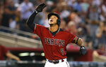 Arizona Diamondbacks Ketel Marte celebrates after hitting a solo home run against the New York Mets in the first inning during a baseball game, Sunday, June 2, 2019, in Phoenix. (AP Photo/Rick Scuteri)